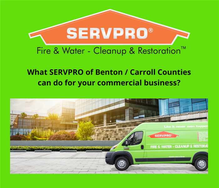 Graphic SERVPRO arrives to Commercial job